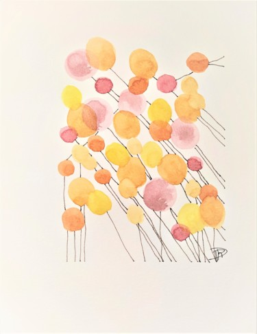 """Painting titled """"Impetus # yellow"""" by Dominique Mireille Richard, Original Art, Watercolor"""