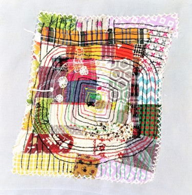 Color Textile Art, embroidery, abstract, artwork by Dominique Mireille Richard