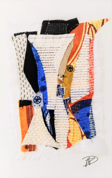 """Textile Art titled """"Zest"""" by Dominique Mireille Richard, Original Art, Embroidery Mounted on Cardboard"""