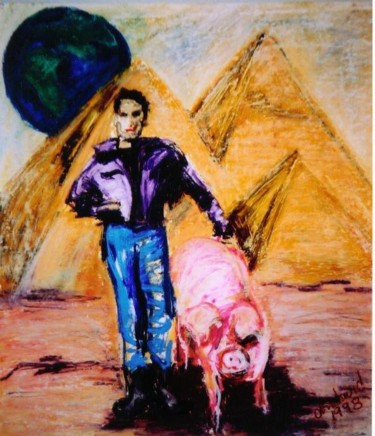 """Painting titled """"""""A Boy and His Pig"""""""" by Dondavid, Original Art,"""