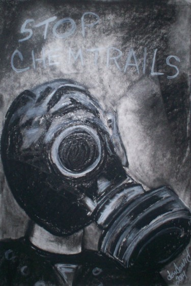 """Painting titled """"""""Stop Chemtrails II"""""""" by Dondavid, Original Art,"""