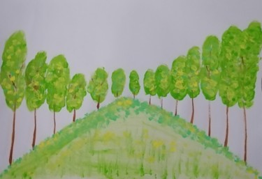 """Painting titled """"Forest in spring"""" by Mei Ha Chan (Donna), Original Art, Watercolor Mounted on Wood Panel"""
