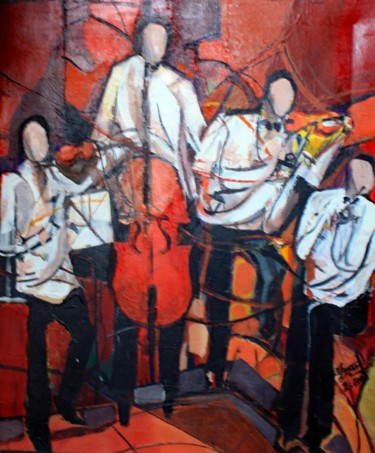 """Painting titled """"QUATUOR"""" by Jacques Donneaud, Original Art, Acrylic Mounted on Stretcher frame"""