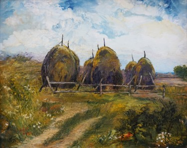 Countryside Painting, wax, impressionism, artwork by Dora Stork