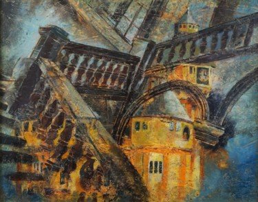 Architecture Painting, wax, abstract, artwork by Dora Stork