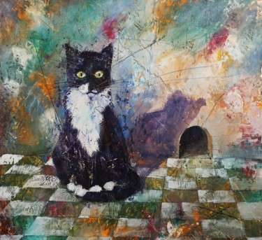 Cat Painting, wax, expressionism, artwork by Dora Stork