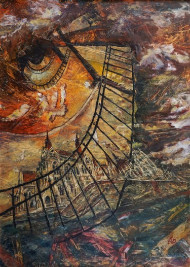 Architecture Painting, wax, expressionism, artwork by Dora Stork