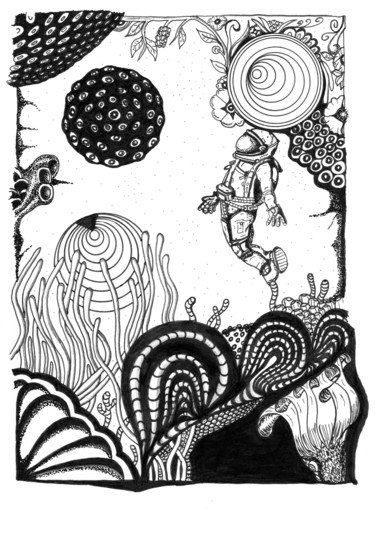 """Drawing titled """"Space Diver"""" by Philippe Savarin, Original Art, Ink"""