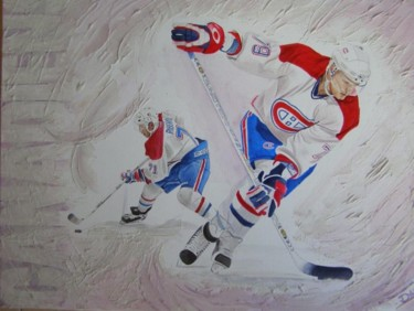 """Painting titled """"hockey sur glace"""" by Dadou, Original Art, Oil"""