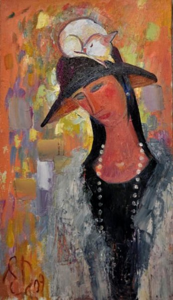 """Painting titled """"Hat and cat"""" by Drigo, Original Art, Oil"""