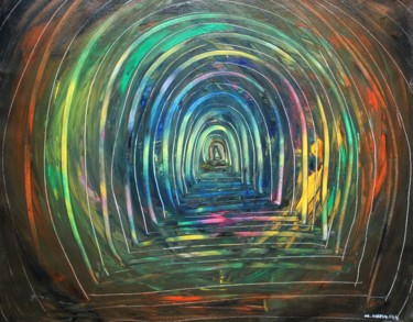 """Painting titled """"Temple-Tunnel"""" by Dr Suresh Ega, Original Art, Acrylic"""