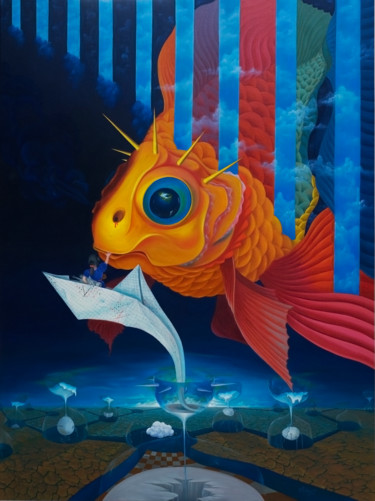 """Painting titled """"Goldfish of dream"""" by Dam Tung, Original Art, Oil"""