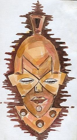 """Painting titled """"Afro Mask 1"""" by Duduhandsome, Original Art,"""