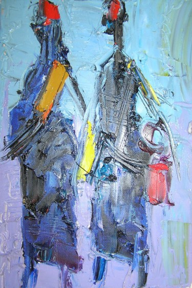 """Painting titled """"Friends"""" by Duke Asidere, Original Art,"""