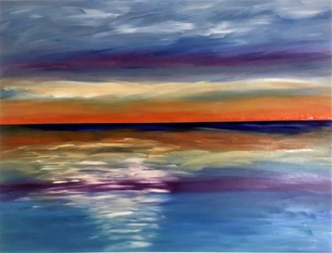 """Painting titled """"Gulf Coast Sunset #2"""" by Dutch Montana, Original Art, Oil Mounted on Stretcher frame"""