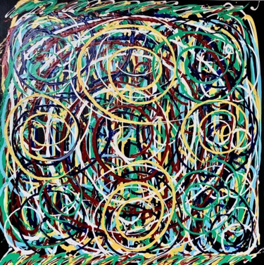 """Painting titled """"Sacred Geometry"""" by Dutch Montana, Original Art, Oil Mounted on Stretcher frame"""