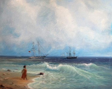 """Painting titled """"The sea shore"""" by Lusie Schellenberg, Original Art, Oil"""