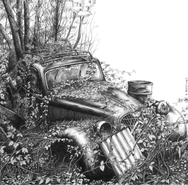 """Drawing titled """"Traction avant sous…"""" by Eric Berthet, Original Art, Ink"""