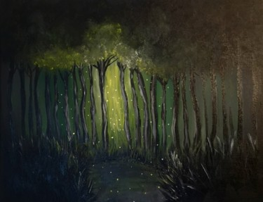 """Painting titled """"Magic in dark forest"""" by Daina, Original Art, Acrylic Mounted on Stretcher frame"""