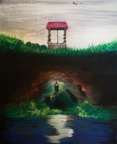 """Painting titled """"Cave beneath the su…"""" by Daina, Original Art, Tempera Mounted on Stretcher frame"""