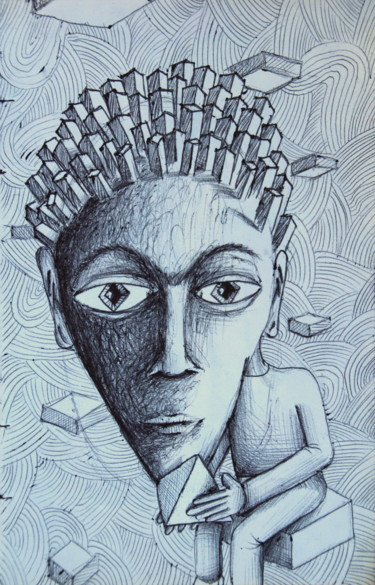 Drawing, ballpoint pen, surrealism, artwork by Edouard Leruste