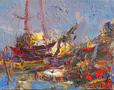 Boat Painting, oil, expressionism, artwork by Eduard Belsky
