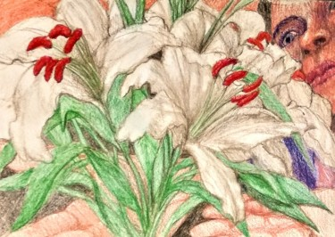 """Drawing titled """"White Lilies"""" by Edwin Loftus, Original Art, Pencil Mounted on Other rigid panel"""