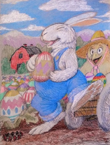 """Drawing titled """"The Easter Bunny's…"""" by Edwin Loftus, Original Art, Pencil"""