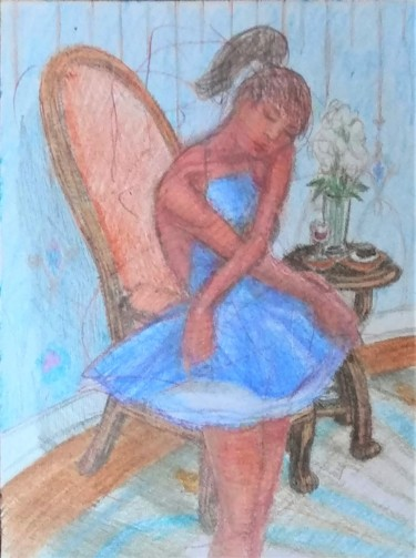 """Drawing titled """"The Dancer after th…"""" by Edwin Loftus, Original Art, Pencil Mounted on Other rigid panel"""