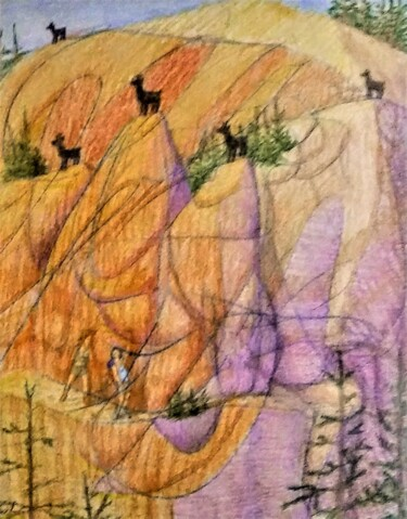 """Drawing titled """"A Trail in the Moun…"""" by Edwin Loftus, Original Art, Pencil Mounted on Other rigid panel"""