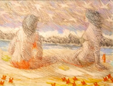 """Drawing titled """"Women on a Beach"""" by Edwin Loftus, Original Art, Pencil Mounted on Other rigid panel"""