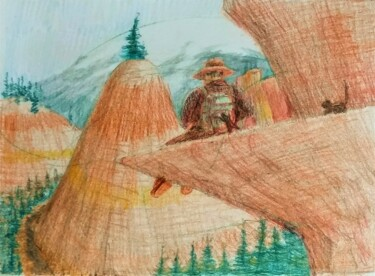 """Drawing titled """"Robbers on the Trail"""" by Edwin Loftus, Original Art, Pencil Mounted on Other rigid panel"""
