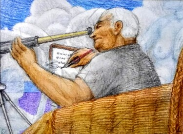 """Drawing titled """"The Scientist studi…"""" by Edwin Loftus, Original Art, Pastel Mounted on Other rigid panel"""