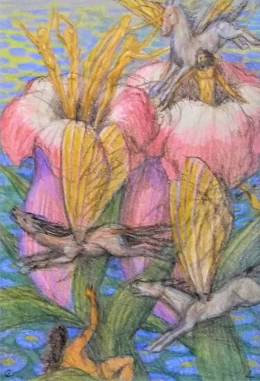 """Drawing titled """"Pollination"""" by Edwin Loftus, Original Art, Pastel Mounted on Other rigid panel"""