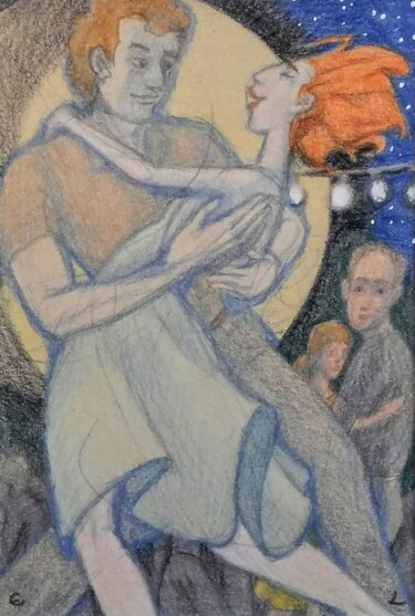 """Drawing titled """"Moonlight Dance Rom…"""" by Edwin Loftus, Original Art, Pastel Mounted on Other rigid panel"""