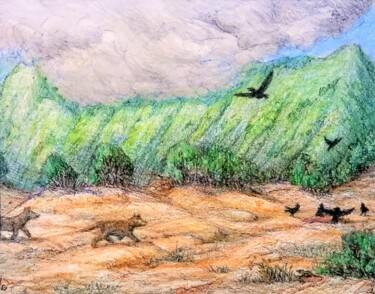 """Drawing titled """"On a mountain trail…"""" by Edwin Loftus, Original Art, Pastel Mounted on Other rigid panel"""