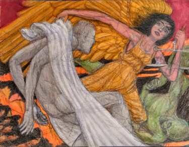 """Drawing titled """"Redemption"""" by Edwin Loftus, Original Art, Pastel Mounted on Other rigid panel"""