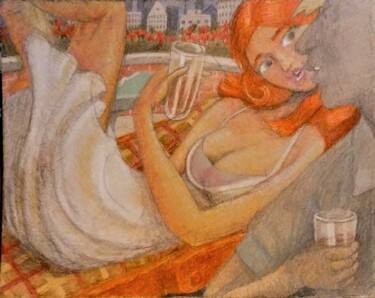 """Drawing titled """"The Woman at the Pa…"""" by Edwin Loftus, Original Art, Pastel Mounted on Other rigid panel"""