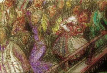 """Drawing titled """"On the Lusitania"""" by Edwin Loftus, Original Art, Pastel Mounted on Other rigid panel"""