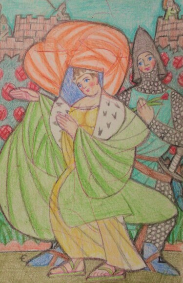 """Drawing titled """"Medieval Love"""" by Edwin Loftus, Original Art, Pastel Mounted on Other rigid panel"""