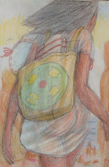 """Drawing titled """"Woman on the Path t…"""" by Edwin Loftus, Original Art, Pastel Mounted on Other rigid panel"""