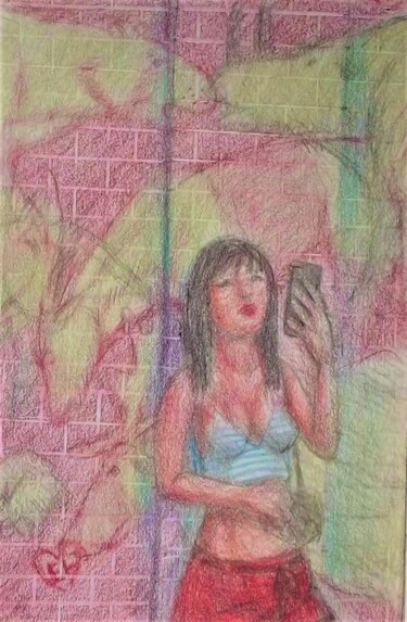 """Drawing titled """"Waiting for a Ride…"""" by Edwin Loftus, Original Art, Pastel Mounted on Other rigid panel"""
