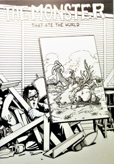 """Drawing titled """"The Monster that At…"""" by Edwin Loftus, Original Art, Ink Mounted on Other rigid panel"""