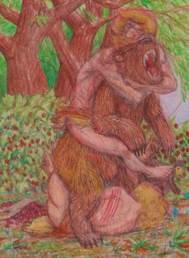 """Drawing titled """"Courage"""" by Edwin Loftus, Original Art, Pastel Mounted on Other rigid panel"""