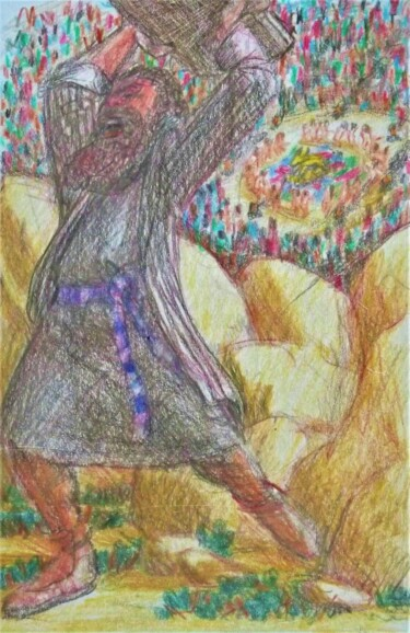 """Drawing titled """"Moses Smashing the…"""" by Edwin Loftus, Original Art, Pastel Mounted on Other rigid panel"""