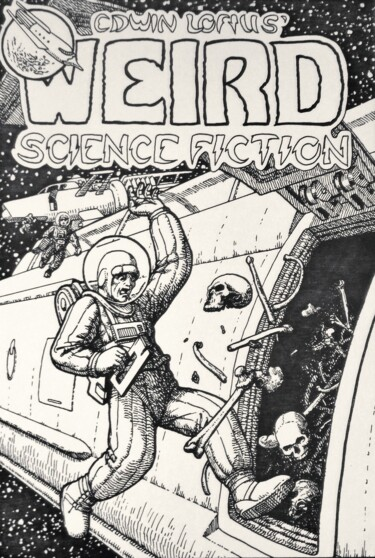 """Drawing titled """"Weird Science Ficti…"""" by Edwin Loftus, Original Art, Ink Mounted on Other rigid panel"""