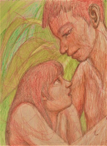 """Drawing titled """"Eve and Adam"""" by Edwin Loftus, Original Art, Pastel Mounted on Other rigid panel"""