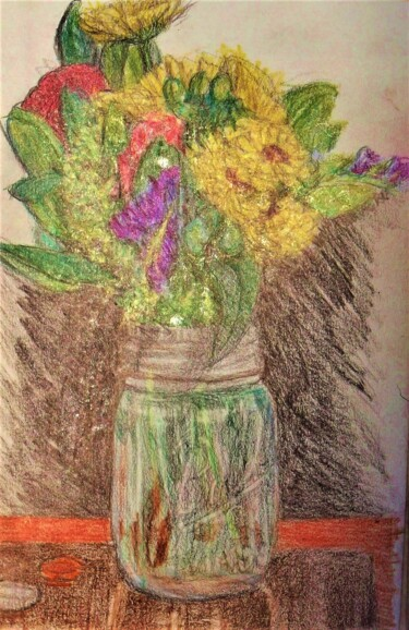 """Drawing titled """"Jar of Flowers"""" by Edwin Loftus, Original Art, Pastel Mounted on Other rigid panel"""