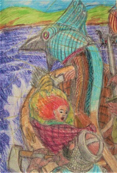 """Drawing titled """"The Baltic Merchant…"""" by Edwin Loftus, Original Art, Pastel Mounted on Other rigid panel"""