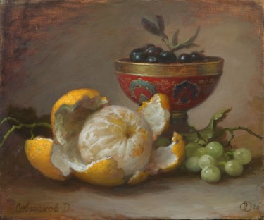 """Painting titled """"Orange and olives"""" by Дмитрий Севрюков, Original Art, Oil Mounted on Stretcher frame"""